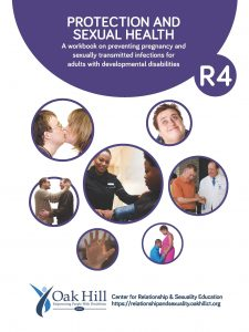 Protection and Sexual Health Workbook Cover, teal bubbles with white text, individual and pairs people smiling and talking to each other