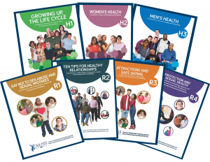 Covers of seven workbooks, multiple colors, smiling people of all ages and genders